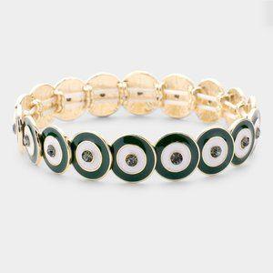 Multi Round Color Block Stretch Bracelet- Green